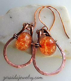 Earrings Pins - Art -Z Jewelry Wire Jewelry Earrings, Wire Wrapped Earrings, Beaded Jewelry, Wire Jewellery, Copper Earrings, Handmade Jewellery, Jewlery, Necklaces, Wire Jewelry Designs