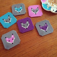 Fox coaster set hama beads by figefjord