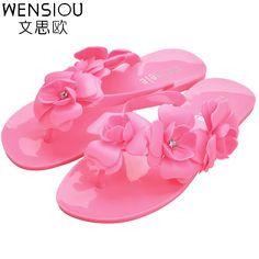 Summer Style women flip flop sandals fashion candy color flower flat shoes women hot sale ladies beach casual sandals DT125 #Affiliate