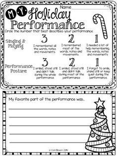 CHRISTMAS PERFORMANCE SELF-EVALUATION, K-3 - TeachersPayTeachers.com