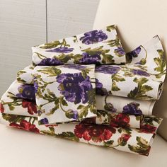 """Transform your bed with this vivid floral print sheet set in soft 100% cotton. Perfect for spring or summer, you'll love the way they brighten up the bedroom.      fits matttresses up to 18"""" deep  100% cotton  machine wash  imported      Why Buy?  Freshen up the bedroom with new linens at great prices every day!"""
