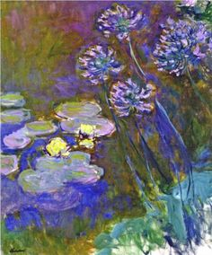 Water Lilies and Agapanthus - Claude Monet