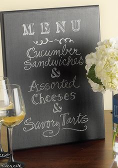 DIY Martha Stewart Chalkboard Menu   Let guests know what they can expect with this great tutorial!