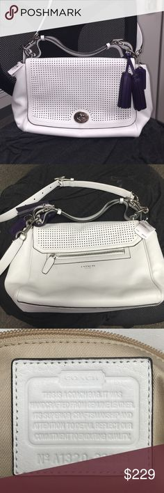 "COACH Legacy Perforated Romy Conv Top Handle NWT Genuine leather in chalk white.  Legacy Perforated Accented flap cover with turnbuckle closure.  Top handle and removable, adjustable shoulder strap.  1 exterior zipper pocket, 2 slip and 1 zip pocket inside.  Brand new with tag, never used, has only been stored.  9"" tall x approx 13"" wide and 5"" deep.  Top handle drop of 4"".  Dark purple hand tag and tassel too.  Beautiful roomy bag, white and I have a love hate relationship  Coach Bags…"
