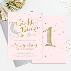 pink and gold 1st birthday invitation girl any age pink gold heart