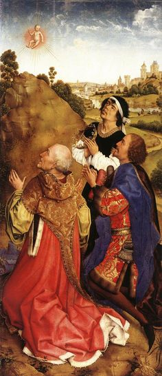 Bladelin Triptych by Rogier van der Weyden. Journey of the Magi.Star of Bethlehem.Three Wise Men observing the star. Religious Paintings, Religious Art, Medieval Art, Renaissance Art, Medieval Clothing, Robert Campin, Saint Charles Borromeo, Rembrandt, Medieval Paintings