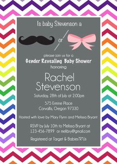 Cute party ideas pinterest chalkboards rainbow gender reveal baby shower invitation chevron mustache and bow invite printable 1200 filmwisefo