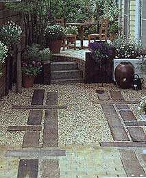 Railway sleepers used in landscaping Driveway Landscaping, Outdoor Landscaping, Rock Driveway, Driveway Ideas, Landscaping Ideas, Garden Paving, Garden Paths, Sleepers In Garden, Australian Native Garden