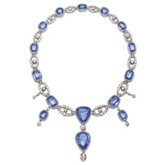 SAPPHIRE AND DIAMOND NECKLACE, FIRST HALF OF THE 19TH CENTURY Composed of a series of alternating links set with cushion-shaped sapphires and cushion-shaped, circular-, single-cut and rose diamonds, the front suspending three detachable pendants featuring a pear- and a trapeze-shaped sapphire,