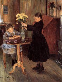 Midsummer hours, 1893, August Eiebakke. Norwegian (1867 - 1938).  Tumblr