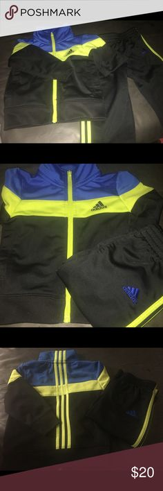 Toddler boy adidas track suit. Great condition! Excellent condition adidas track suit. Green/black/blue size 12months Adidas Matching Sets