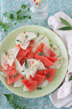 Watermelon Salad with Radish, Sage, thyme, lemon, grapefruit seed oil, and Smoked Paprika