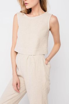 Petra Crop Top in Hemp Twill