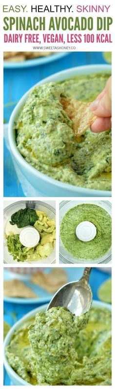 Skinny Spinach Avocado Dip recipe with less than 100 kcal per serving and dairy free. No need of mayo or cream to make this delicious avocado dip.
