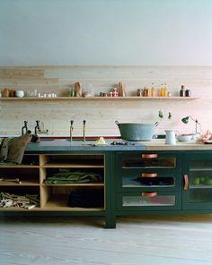 A dark green kitchen from Plain English's contemporary Osea line. Photograph courtesy of Plain English. Rustic Kitchen, New Kitchen, Kitchen Dining, Kitchen Decor, Kitchen Ideas, Kitchen Island, Kitchen Pulls, Kitchen Stuff, Kitchen Interior