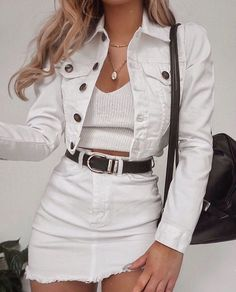 Summer Fashion White On White Denim Look Fashion, Teen Fashion, Fashion Outfits, Fashion Trends, Fashion Clothes, Womens Fashion, Denim Outfits, Fashion Ideas, Denim Skirt Outfit Party