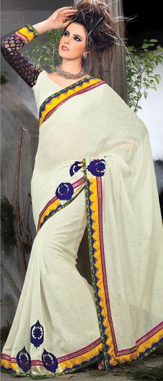 Off #White Art Jute #Silk #Saree with blouse @ $133.27