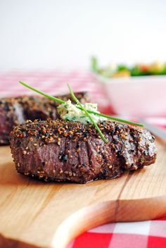 Pepper-Crusted Filet Mignon with Blue Cheese-Chive Butter
