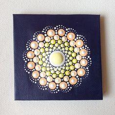 Original Small Pastel Mandala Painting on Canvas, Painting, Office and home ornament Henna art Gift Dotilism Dotart, Blue mandala