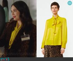 Mona's velvet leopard blazer and skirt on Pretty Little Liars The Perfectionists Leopard Blazer, Fashion Ideas, Fashion Outfits, Yellow Ties, Yellow Blouse, Tweed Coat, Tie Neck Blouse, Zara Skirts, Satin Blouses