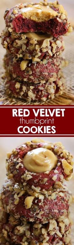 Red Velvet Thumbprint Cookies with Caramel Cream Cheese Filling I Pecan Cookies I Chocolate Cookies I Christmas Cookies I Cookies I dessert Homemade Cookies, Yummy Cookies, Pecan Cookies, Chocolate Cookies, Christmas Desserts, Fun Desserts, Delicious Desserts, Dessert Recipes, Christmas Treats