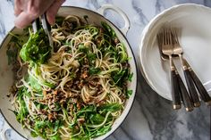 Linguine with Arugula / Rocket and Olive-Pecan Frico Crumble #vegetarian #recipe