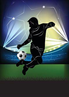 easy to edit vector illustration of soccer player kicking ball Nike Football Boots, Soccer Art, Soccer Shin Guards, Football Wallpaper, Sports Stars, Sports Logo, Free Vector Art, Football Players, Motocross
