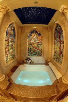 Awesome honeymoon! Beautiful bathroom mosaic inside the Cinderella Castle Suite at Magic Kingdom Park
