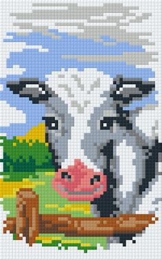 1247228.jpg (312×500) cow in pasture pixel art