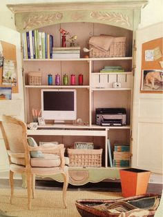 repurposed armoire - office, desk, shelving