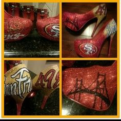 46a25e53 Shiekh Shoes - San Francisco 49ers inspired heels San Francisco 49ers, Shoe  Closet, Heels