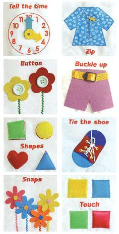 lots of ideas for felt boards and quiet books to develop fine motor skills.