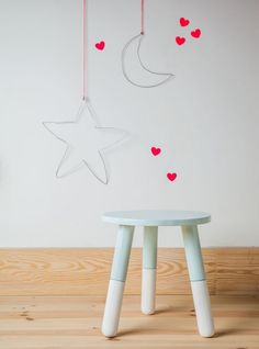 star and moon hanging wire decor for kids' room - done with fairy lights?