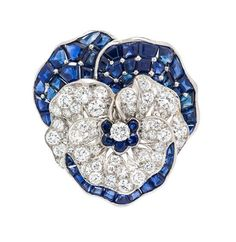 "A Platinum, Sapphire and Diamond ""Pansy""Brooch, Oscar Heyman, Circa 1946, 17.20 dwts."