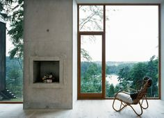 "upinteriors: ""Concrete fireplace between large windows. Forester's House and Service Building by Petra Gipp Arkitektur. Interior Exterior, Interior Architecture, Interior Design, Cabin Design, House Design, Minimalist Fireplace, In Praise Of Shadows, Sweden House, Concrete Fireplace"