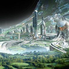 """Earth habitat page for """"BBC Science Focus Magazine"""" article by Steven Baxter """"Space exploration: how might the next 50 years progress? Fantasy City, Fantasy Places, Sci Fi Fantasy, Fantasy World, Futuristic City, Futuristic Architecture, Sci Fi City, Space City, Sci Fi Environment"""