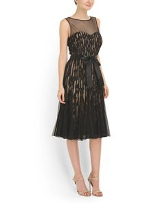image of Mesh Top Pleated Bottom Dress