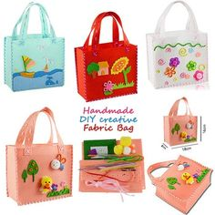 First Sewing DIY Non-woven Felt Fabric Cloth Kit Assorted Design Sewing Pattern Bag Handbag Art & Crafts Educational Toy for Kid Handmade Fabric Bags, Handmade Handbags, Handmade Felt, Bag Patterns To Sew, Sewing Patterns, Diy Handbag, Toy Craft, Craft Kits, Educational Toys For Kids