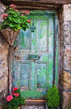 old green weathered door..
