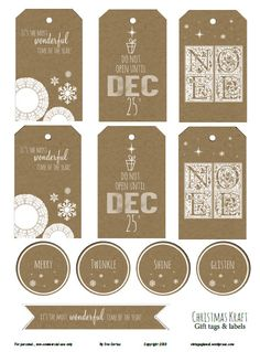 Free Printable Download - Christmas Kraft II Gift Tags