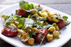 Chickpea, calamari and chorizo salad