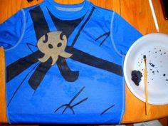 Our finished Ninjago Jay shirt.