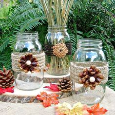 Creating Pine Cone Flowers for Fall Decorating Create these beautiful and unique pine cone flowers to accent mason jars and vases creating the perfect fall decor for your home. You can use pine cones found in your yard or bought at a craft store. Pine Cone Decorations, Centerpiece Decorations, Flower Decorations, Thanksgiving Decorations, Holiday Decor, Christmas Decorations, Christmas Ideas, Thanksgiving Table, Pot Mason