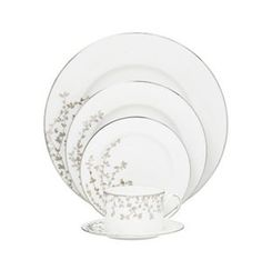 This elegant kate spade new york Gardner Street Platinum dinnerware collection features delicate platinum branches with dainty leaves sweeping over the sides of each piece. The fine bone china is edged in platinum for a beautiful finishing touch. Wedding Gift Registry, Wedding Gifts, Wedding Bells, Wedding Ideas, Wedding China, Dinnerware Sets, China Dinnerware, China Patterns, Place Settings