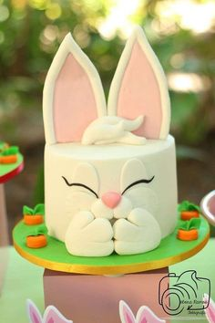 Love this bunny cake at an Easter picnic party! See more party planning ideas at http://CatchMyParty.com!