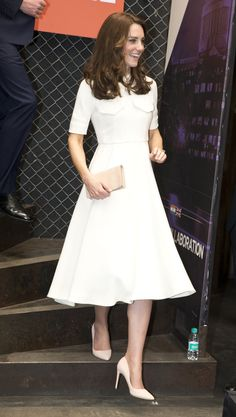The Duchess of Cambridge in a chic white Emilia Wickstead dress // Favorite Kate Middleton styles and wedding inspiration