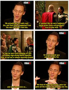 Tom Hiddleston on Chris Hemsworth