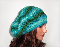 Hand Knitted Hat Hand Knit Slouchy Hat by UnlimitedCraftworks