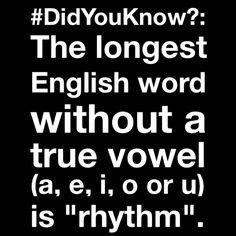 "#DidYouKnow?: The longest English #word without a true vowel (a, e, i, o or u) is ""#rhythm""."