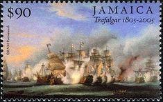 Stamp: Trafalgar (Jamaica) (Bicentenary of the Battle of Trafalgar issue)) Mi:JM Commonwealth, Ship Paintings, Navy Ships, Royal Navy, Girl Scouts, Postage Stamps, Jamaica, Battle, Stamps